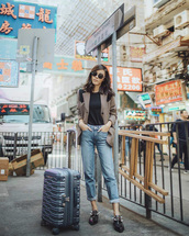jacket,tumblr,blazer,grey blazer,top,black top,denim,jeans,blue jeans,cuffed jeans,travel bag,travel outfits,suitcase,sunglasses,shoes,flats