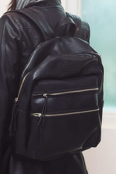 cuir bag black school bag black bag backbag the black bag black backpack black bag with gold details find it tumblr