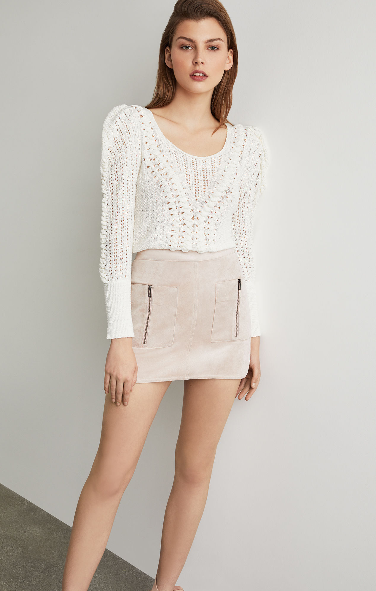 Patch Pocket Faux Suede Skirt - Bare Pink | BCBG.com