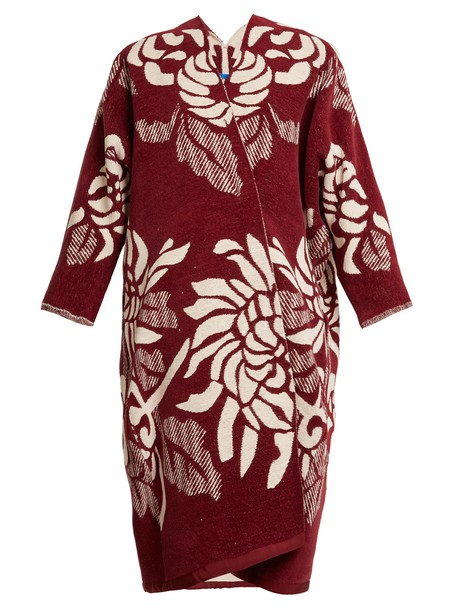MARIT ILISON coat jacquard floral cotton white burgundy