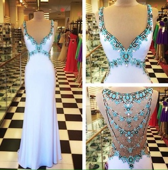 dress white dress white homecoming dress beads prom dress prom