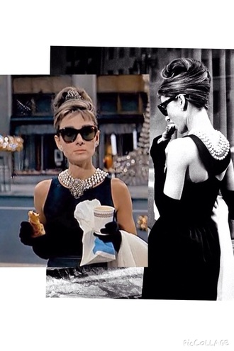 audrey hepburn dress black dress black breakfast at tiffany's necklace