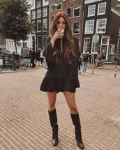 dress,mini dress,black dress,v neck dress,long sleeve dress,ruffle dress,thigh high boots,high heels boots