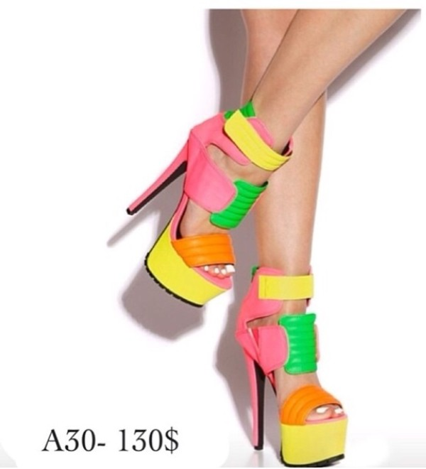 shoes high heels pink high heels neon yellow