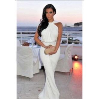 dress white white maxi dress maxi maxi dress wedding wedding guest wedding guest dress gorgeous kim kardashian dress kim kardahian white dress jumpsuit