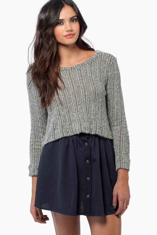 tobi fluffy knit warm Half Top crop swam eater cropped sweater
