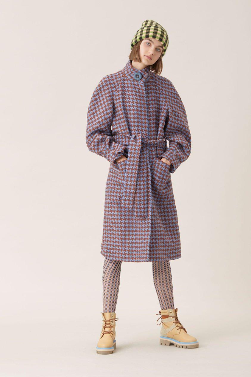 Celeste Tweed Coat - Houndstooth Azure - Stine Goya