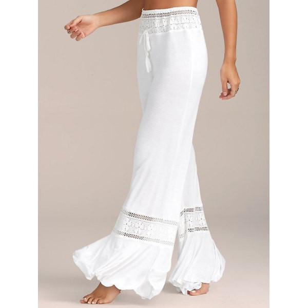 pants white pants high waisted pants lace panel pants