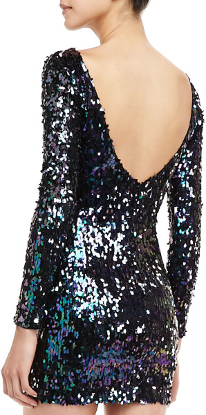 Dress The Population Sequined Scoopback Mini Dress in Blue (BLACK) | Lyst