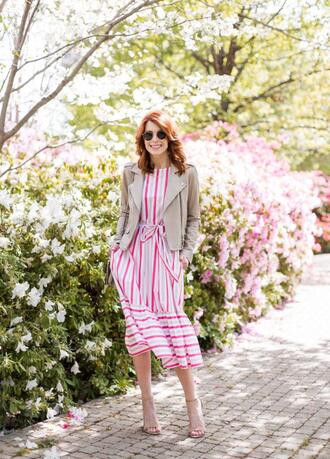 themiddlepage blogger dress jacket jewels shoes bag beige jacket striped dress spring outfits sandals midi dress