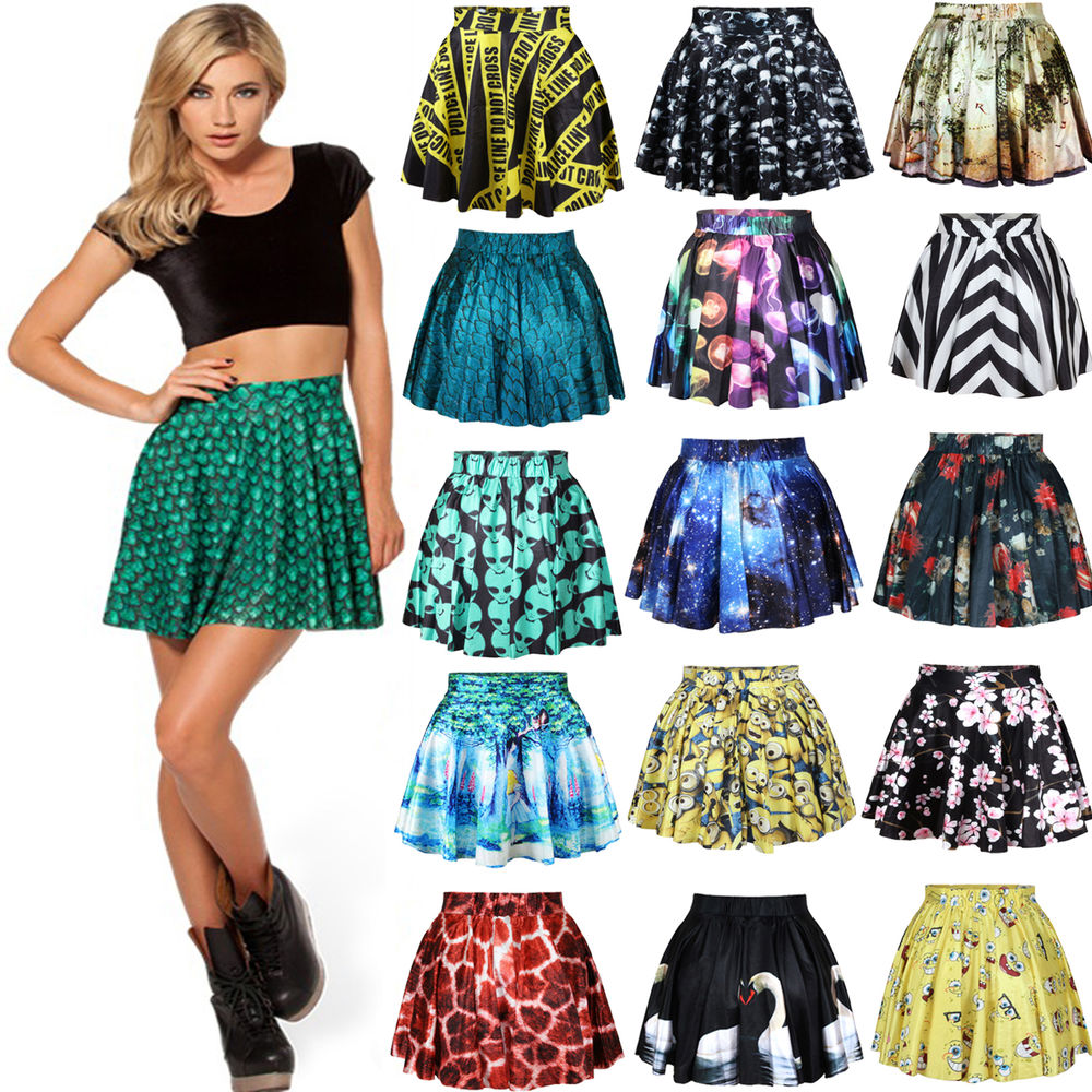 Hot! womens printed galaxy cartoon adventure ball skater pleated skirts dresses