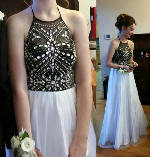 dress, black and white prom dress, crystals prom dresses, couple ...