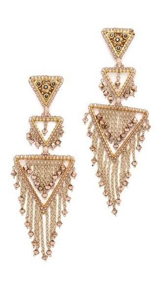 triangle statement earrings gold jewels