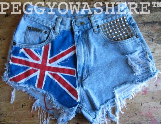 Vtg 1980's union jack cut off high waist distressed punk denim festival shorts hand painted tartan plaid patches