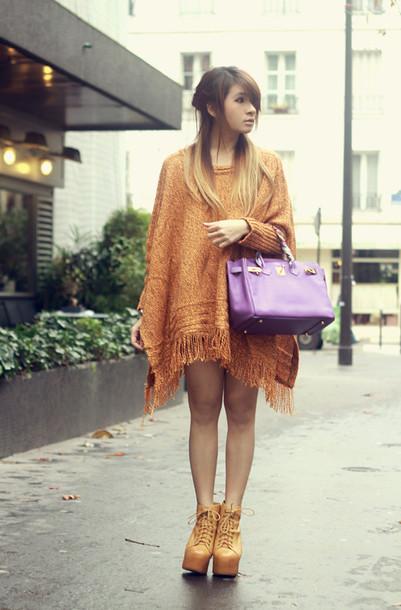 brown platform sweater bag jewels
