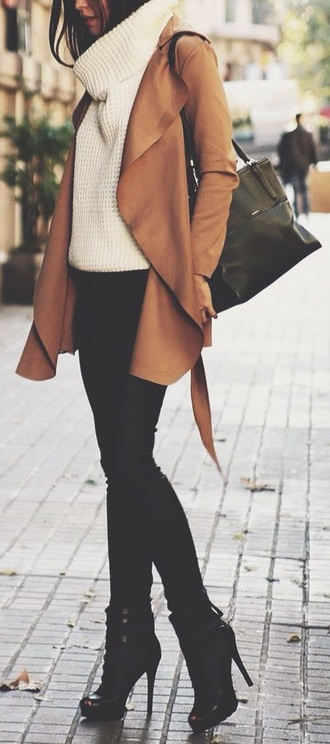 coat tan sweater jacket boots black pants white chunky knit turtleneck chunky knit neck warmer caramel winter outfits waterfall coat brown coat brown jacket