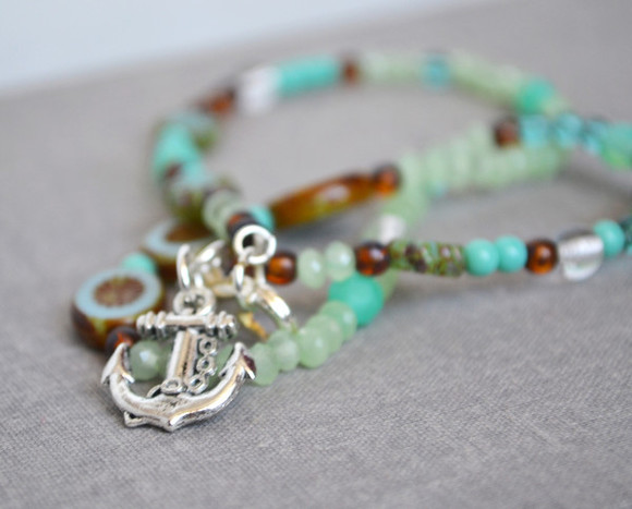 anchor jewels mint blue turquoise sailor beach sand ocean aqua summer summer necklace summer shoes