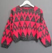 shirt,pink,happily grey,sweatshirt,cute,tribal pattern,tribal sweater,long sleeves,warmth,winter sweater,sweater