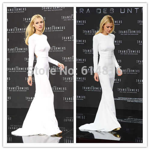 Aliexpress.com : Buy Simple Elegant Nicola Peltz In White Sheath Long Sleeve Heavy Satin Celebrity Dresses Open Back Red Carpet Dresses Scoop Neck from Reliable dress long sleeve tunic dress suppliers on Suzhou Babyonlinedress Co.,Ltd