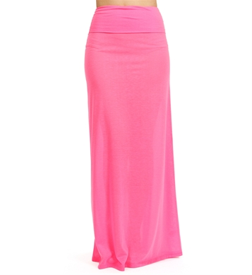 bright neon pink maxi skirt