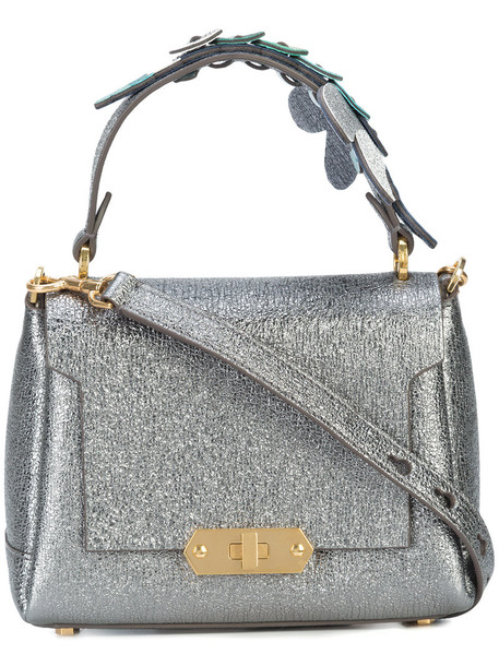 mini women dragonfly leather grey metallic bag
