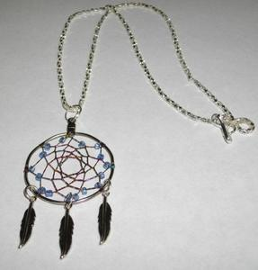 Silvertone and colored beads dreamcather necklace silvertone feathers