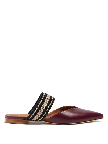 backless flats leather burgundy shoes