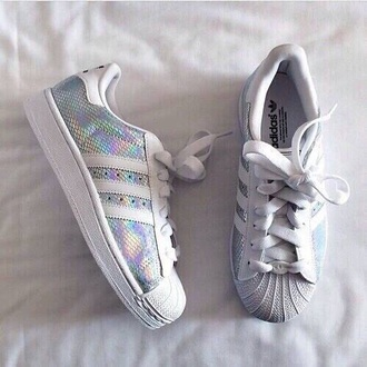 shoes adidas shoes adidas originals adidas superstars adidas sneakers pastel sneakers white sneakers girls sneakers holographic shoes holographic hologram sneakers holographic grunge opal opalescent