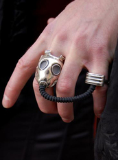 ring,silver ring,jewels,jewelry,gas mask,steampunk,cosplay,the bling ring,two finger ring,doctor who,black,outfit,tumblr outfit,rings and tings,necklace,war,nike air force,mask