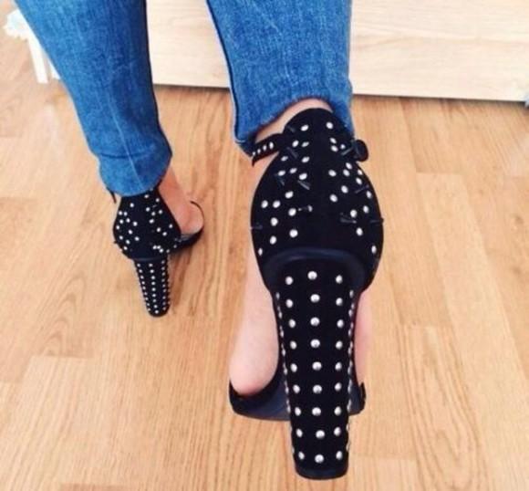 studs shoes open toes heels black pumps