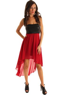 Black Wine Sexy Pleather Chiffon High-Low Dress