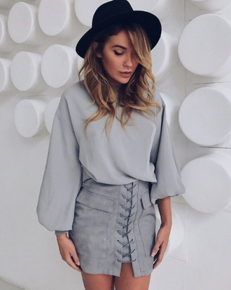 skirt girly grey outfit suede lace up