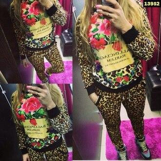 jumpsuit leopard print floral tracksuit pants ballinciaga harlem ballinciaga band t-shirt