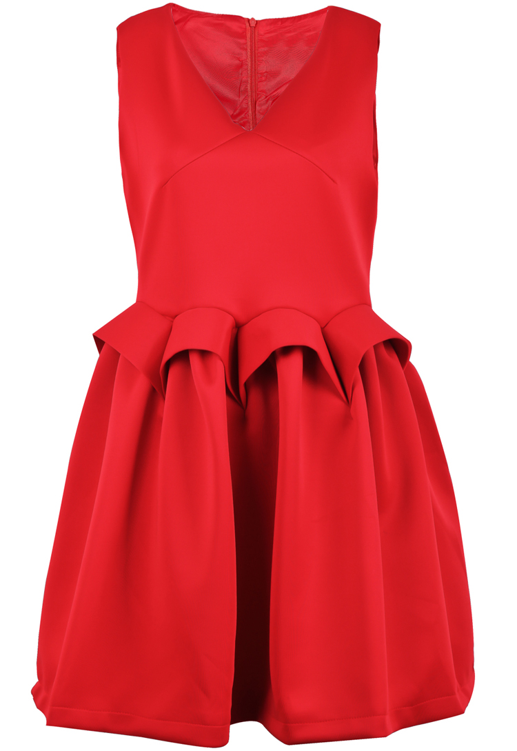 Red V Neck Sleeveless Zipper Flare Dress - Sheinside.com
