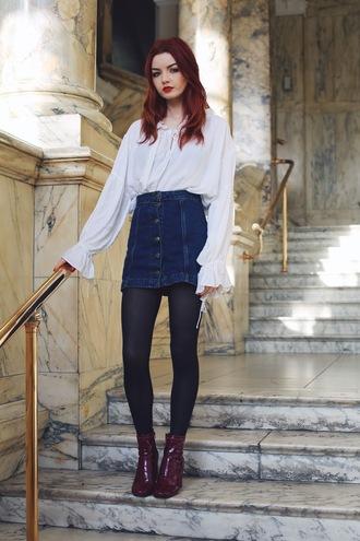 hannah louise fashion blogger patent shoes white blouse denim skirt button up skirt button up denim skirt
