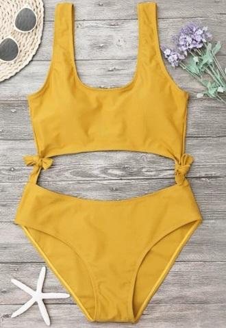 swimwear girly one piece swimsuit one piece bodysuit cut-out yellow mustard