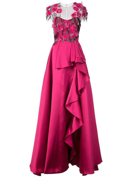 Marchesa Notte gown women ball silk purple pink dress