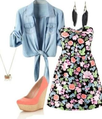 jewels feather earrings floral dress denim shirt wedges coral wedges coral neon neclace pretty necklace cute outfits shoes