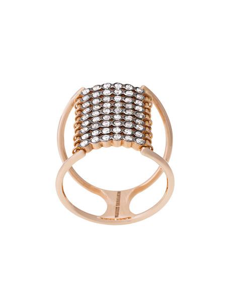 Yannis Sergakis rose gold rose women ring gold black grey metallic jewels