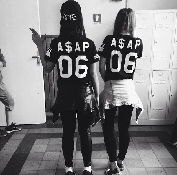 black and white t-shirt shirt ASAP Rocky asap mob girls shirt