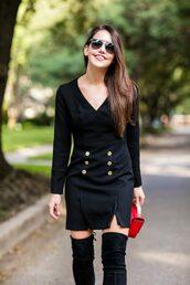 dallas wardrobe // fashion & lifestyle blog // dallas - fashion & lifestyle blog,blogger,dress,shoes,bag,sunglasses,black dress,thigh high boots,red bag,winter date night outfit,mini dress,slit dress,long sleeves,long sleeve dress
