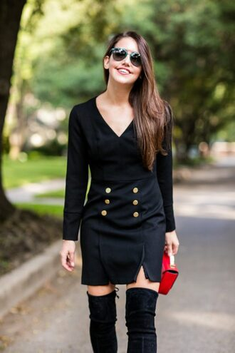 dallas wardrobe // fashion & lifestyle blog // dallas - fashion & lifestyle blog blogger dress shoes bag sunglasses black dress thigh high boots red bag winter date night outfit mini dress slit dress long sleeves long sleeve dress