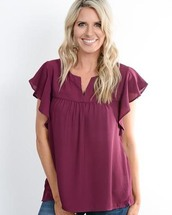 blouse,plum,ruffle,womens clothing,womens fashion