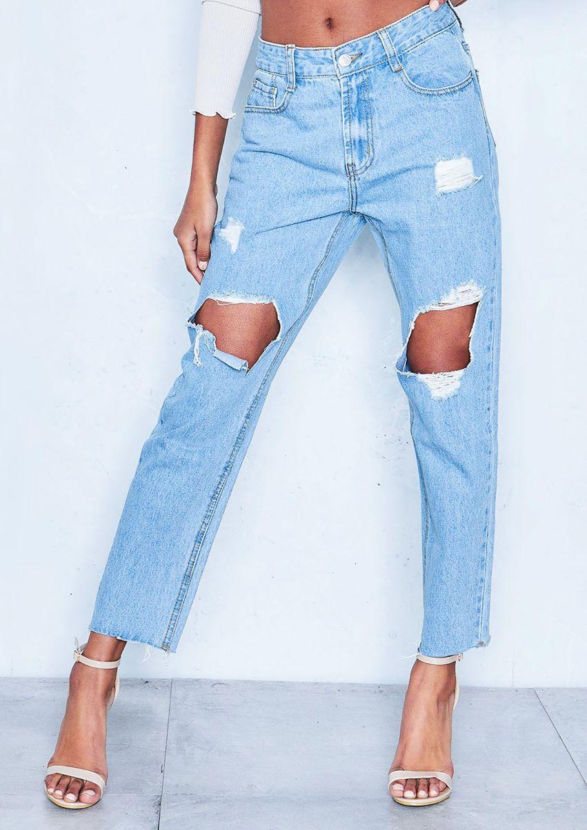 Dominique Denim Rip Distressed Straight Leg Jeans