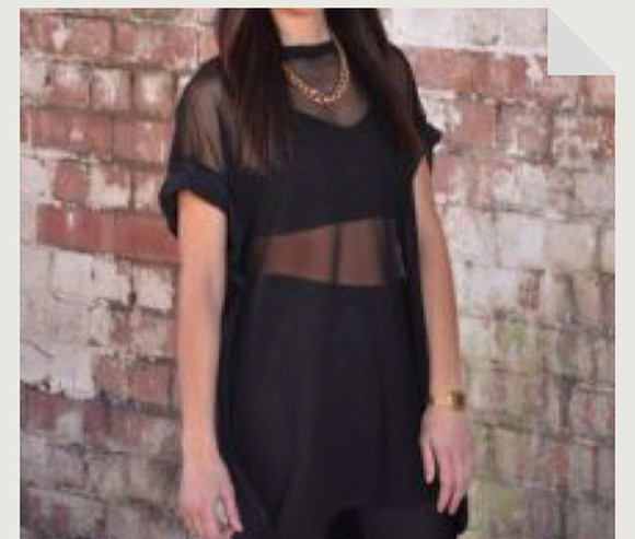 black shirt sheer top oversized shirt mesh top