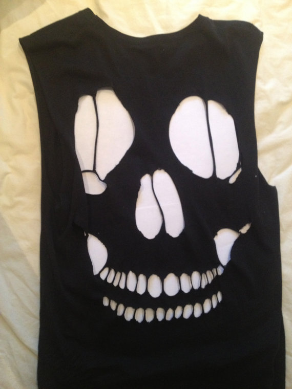 Skull back cutout tank by fashionjunkie23 on etsy