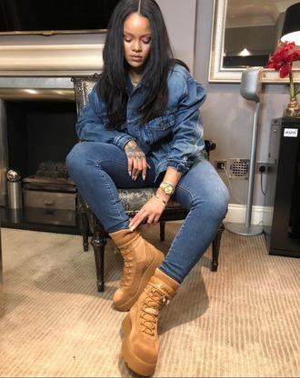 shoes rihanna instagram denim denim jacket boots camel fenty x puma