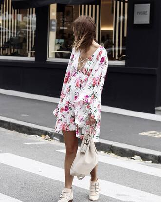 dress tumblr floral floral dress mini dress long sleeves long sleeve dress boots ankle boots shoes