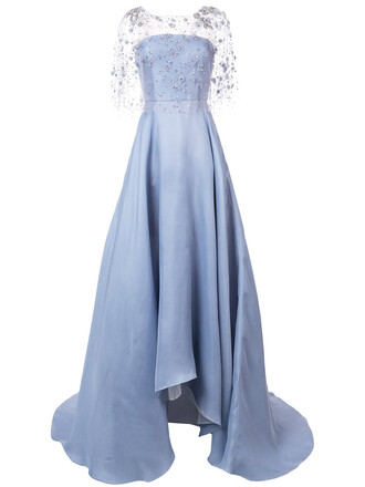 gown women embellished blue silk dress