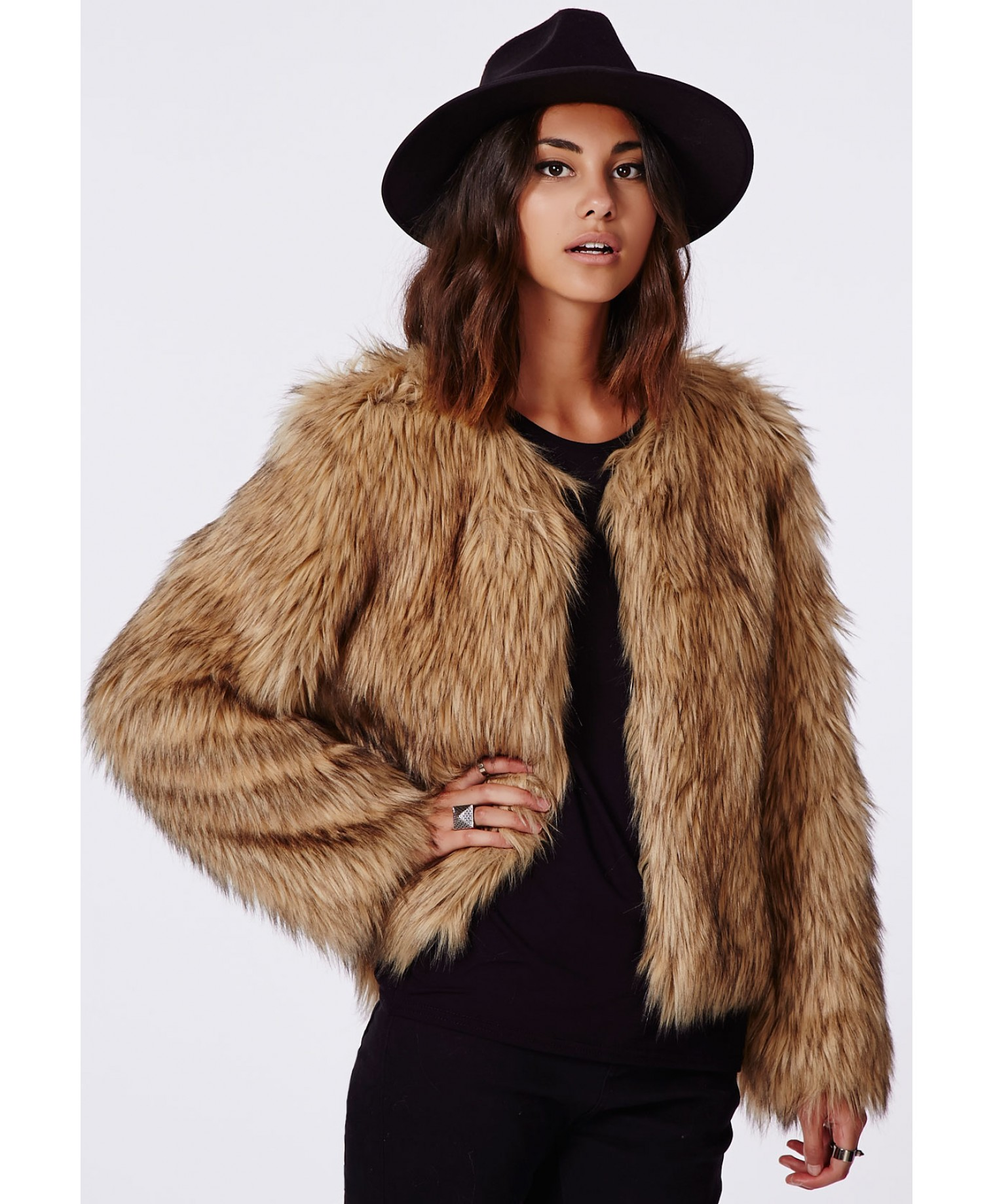 Belle Faux Fur Cropped Jacket Brown